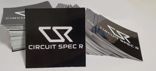 "Circuit Spec R *CSR* Logo Stickers - 3x3"" Gloss Black"
