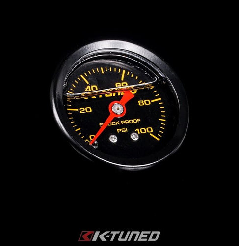 K-Tuned Shock Proof Fuel Pressure Gauge Marshall 0-100 psi - UNIVERSAL