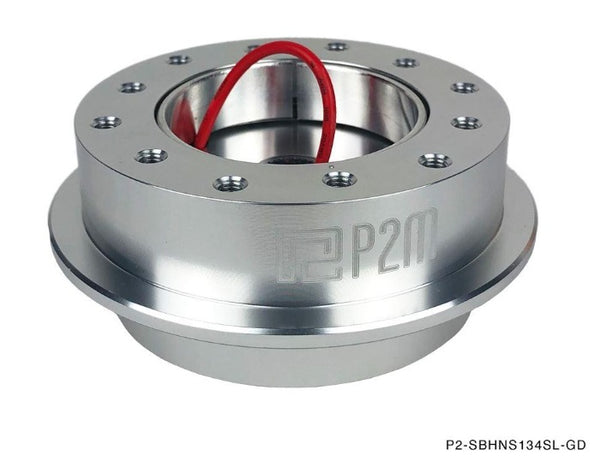Phase 2 Motortrend (P2M) Silver Aluminum Steering Wheel BOSS Short Hub - Nissan 240sx S13 S14 (1989-1998)