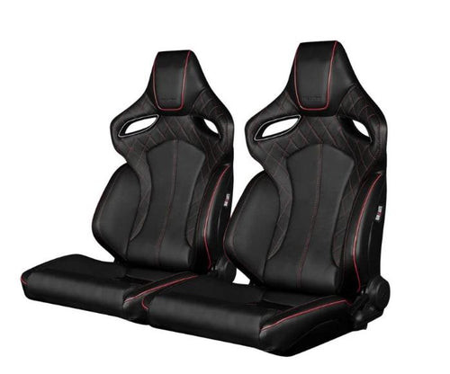 Braum Racing Orue Series Recline-able Racing Seat - Black Diamond Red Stitching - PAIR