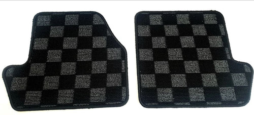Phase 2 Motortrend (P2M) REAR Checkered Race Carpet Floor Mats (Dark Grey) - Nissan 240sx S14 (1995-1998)