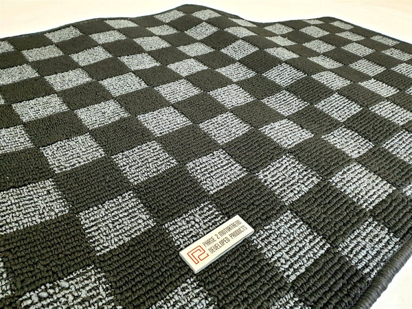 Phase 2 Motortrend (P2M) Checkered Race Carpet Trunk Mat (Dark Grey) - Nissan 240sx S14 (1995-1998)
