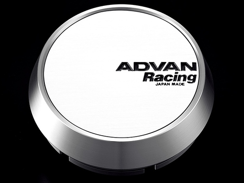 Advan Racing Center Cap - 63MM Bore - Middle / Medium Type - White / Silver Alumite