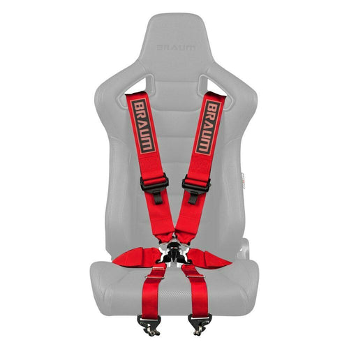 "BRAUM Racing 6 Point 3"" FIA Certified Racing Single Harness - RED"
