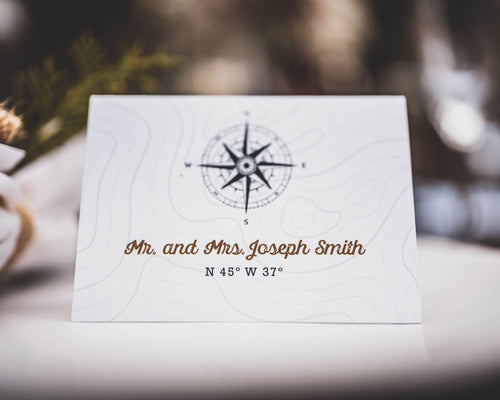 Compass Wedding Place Cards