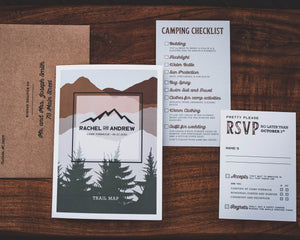 Camp Wedding Invitation with Trail Map
