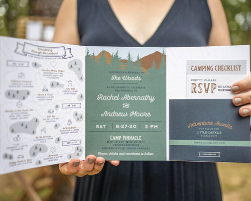 Trail Map Camp Wedding Invitation