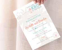 Load image into Gallery viewer, They are tying the knot in paradise invitations for at home destination wedding reception