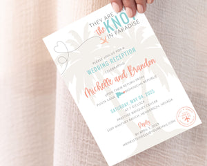They are tying the knot in paradise invitations for at home destination wedding reception