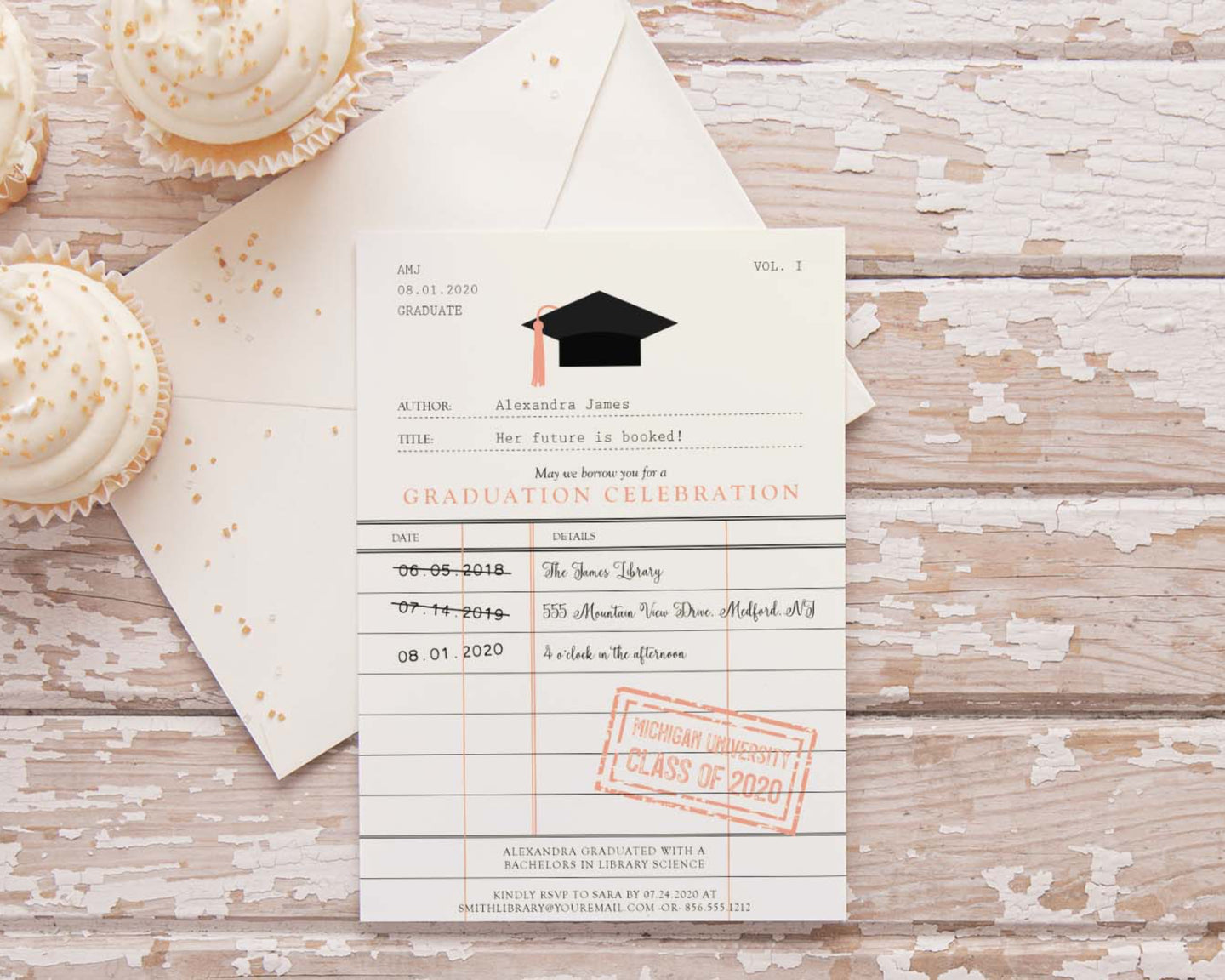 Library themed graduation invitation | degree in library sciences