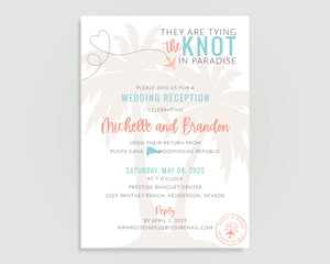 Destination wedding reception invitation