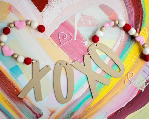 XOXO red, white, pink and gold felt ball garland