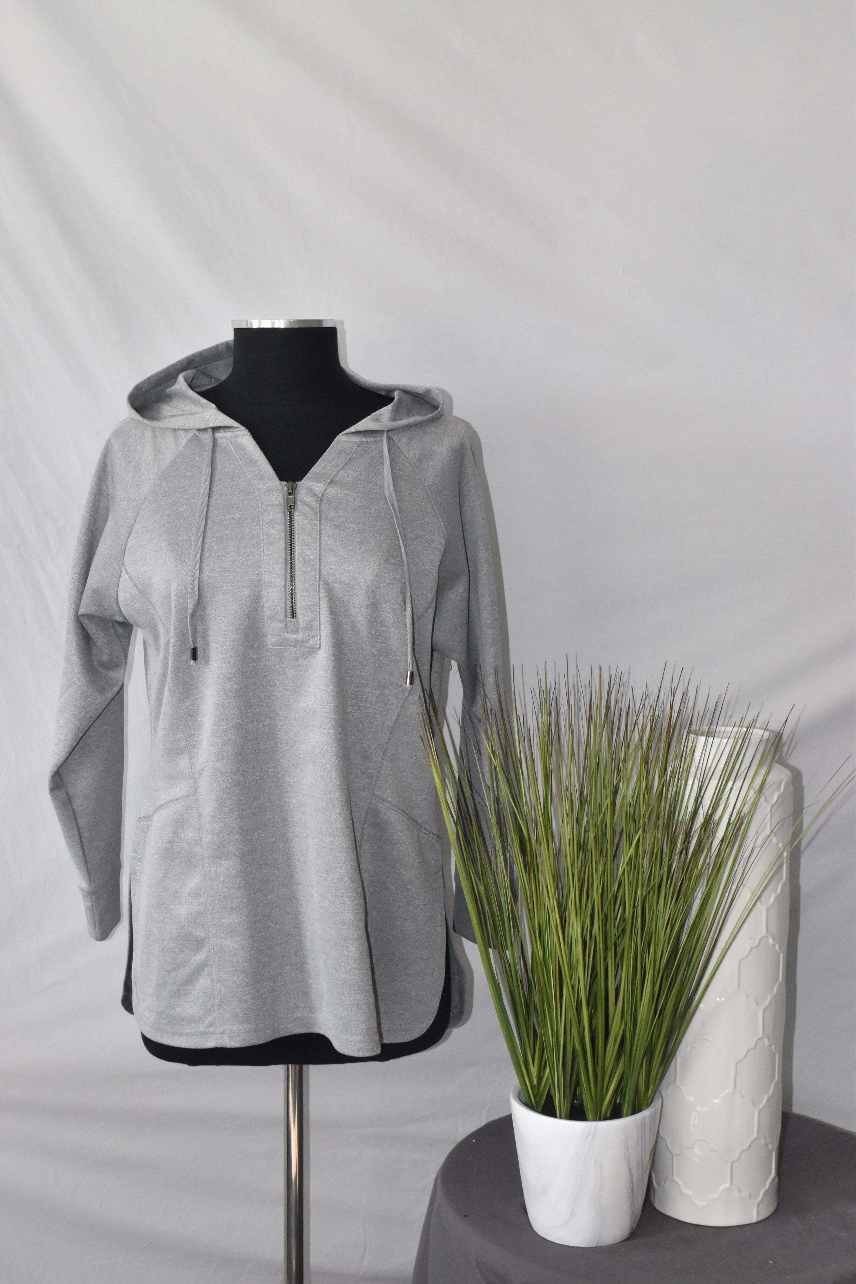 La Madonna Grey Hoodie with Zip