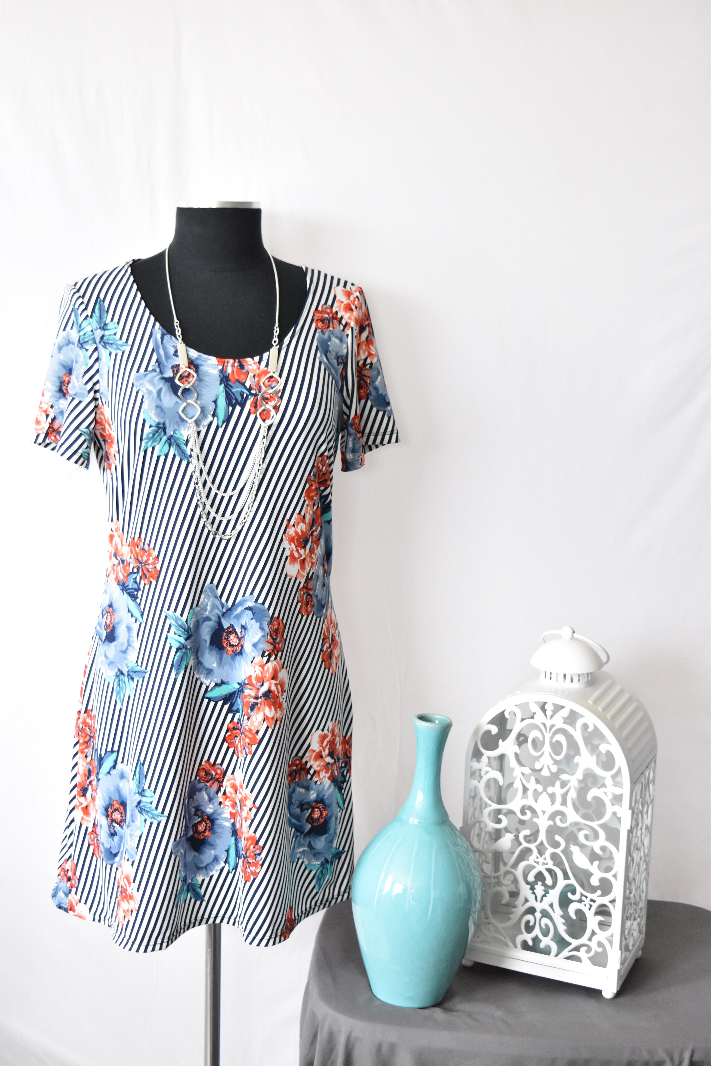 Stephanie Navy Floral and Stripped Summer Dress