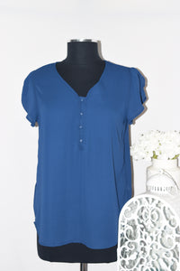 Blouse With Buttons And Flutter Cap Sleeve