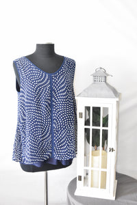 Red Corral Navy with White Print Top