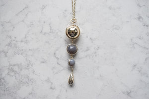 Merx Gold Necklace With Grey Agate Beads