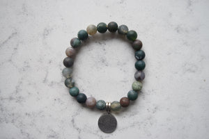 Bracelet - Green with Mountain/River Pendant
