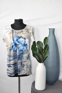 Crystal Blue Top with Flower