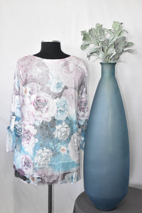 Creation Printed Tunic with Mesh Overlay