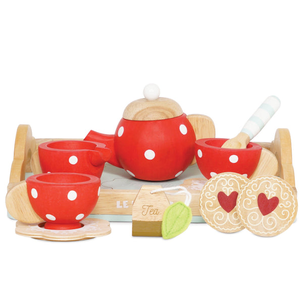 "theeset hout rood met witte stippen ""honeybake"", set de thé en bois rouge aux pois blancs ""honeybake"""
