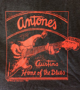Antone's Red Guitar, Charcoal Black, Small - T-shirt