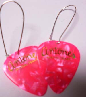 Antone's Guitar Pick Earrings - Pink - Miscellaneous