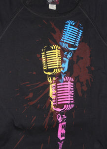 Vintage Microphone, Black, Women's Small - T-shirt