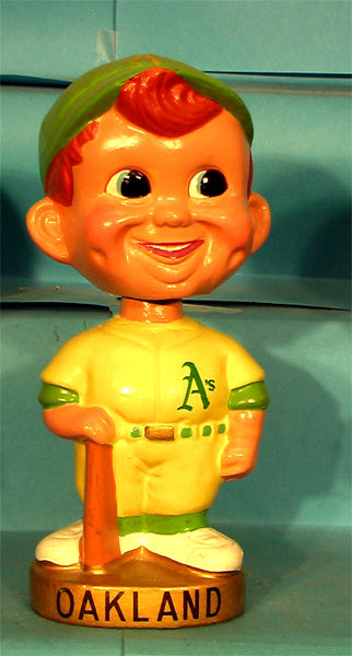 Vintage Oakland Athletics A's gold base bobblehead with bat
