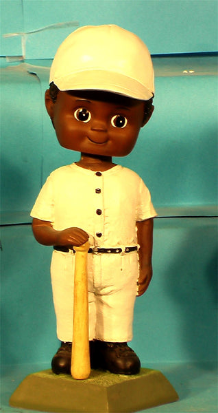 Baseball Boy African-American Paintable Bobblehead