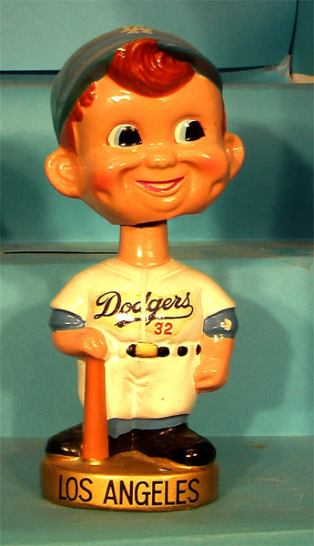 Los Angeles Dodgers gold base curly hair  bobblehead with bat