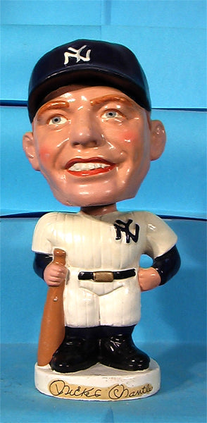 Vintage Mickey Mantle New York Yankees white round base bobblehead