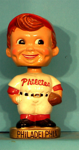 Vintage Philadelphia Phillies gold Base curly hair bobblehead ball and glove