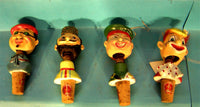 Vintage Wine cork bottle stopers bobbleheads