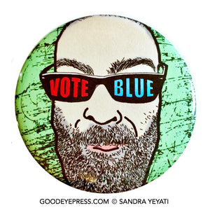 Vote Blue Bearded Man Pinback Button - Good Eye Press