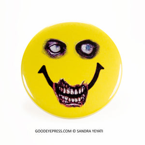 Zombie Smiley Pinback Button - Good Eye Press