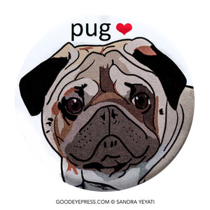 Pug Luv Dog Lover Pin - Good Eye Press