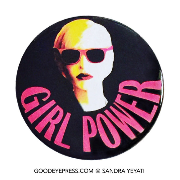 Girl Power Sunglasses Pinback Button - Good Eye Press