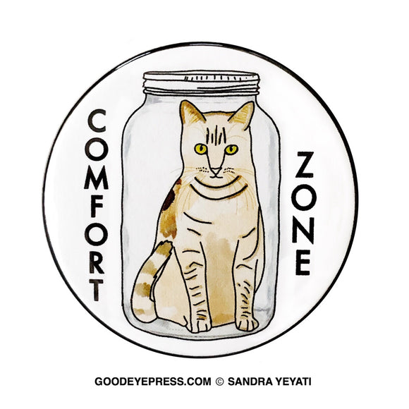 Comfort Zone Cat in a Jar Pin - Good Eye Press