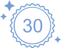 Badge icon in outline blue with the number 30 in the middle and stars on the out side