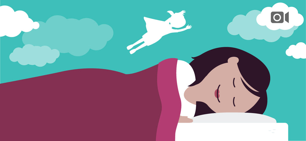 Illustration of a woman sleeping and dreaming that she is flying