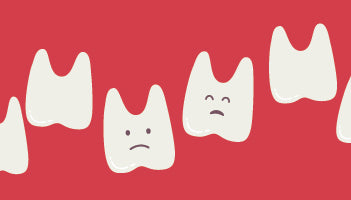 Illustration of teeth with worried faces on a red background