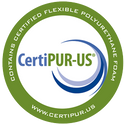 CertiPUR-US Logo | Contains Certified Flexible Polyurethane foam | www.certipur.us
