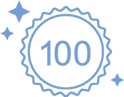 A light blue badge icon with the number 100 in the middle and three twinkling stars on the outside