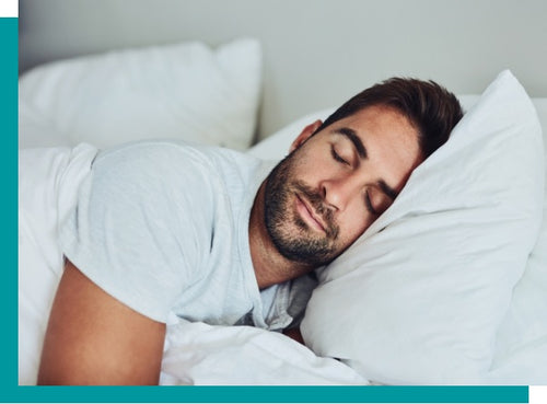 Man relaxing with Agility pillows