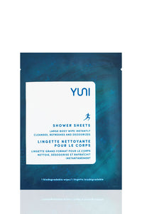 YUNI Shower Sheets Large natural biodegradable Body Wipes - Box of 12