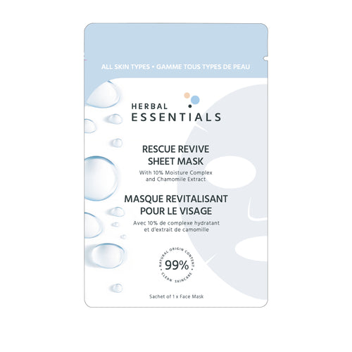 HERBAL ESSENTIALS Rescue Revive Sheet Mask with 10% moisture complex & chamomile extract