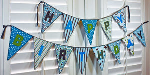 Happy Birthday Banner (Brown/Blue) - My Growing Season
