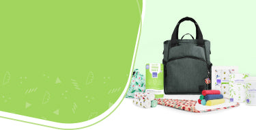 Baby accessories page banner with a range of reusable nappy accessories