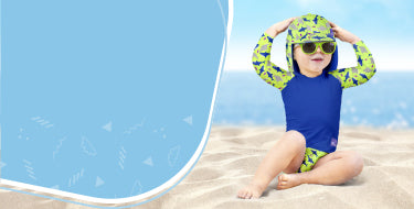 Baby swimming tips block showing baby at the beach in swimwear